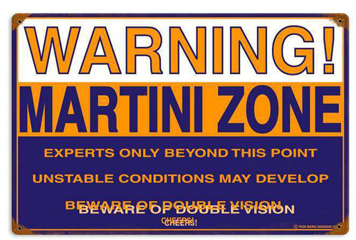 Retro Martini Zone Metal Sign  18 x 12 Inches