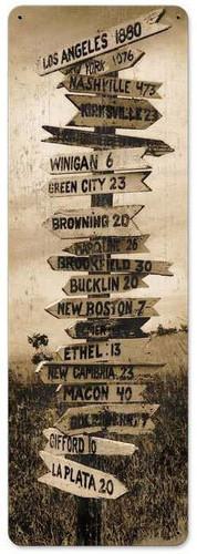 Retro Crossroads Metal Sign  8 x 24 Inches