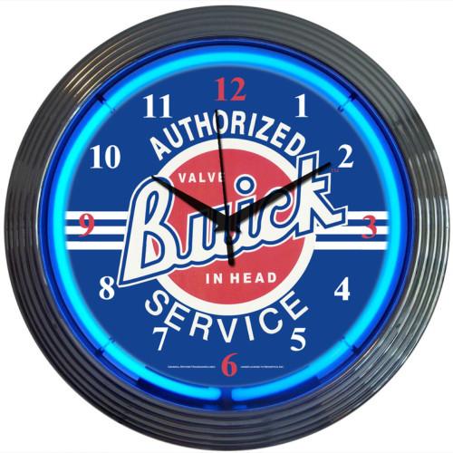 Retro Gm Buick Service Neon Clock 15 X 15 Inches