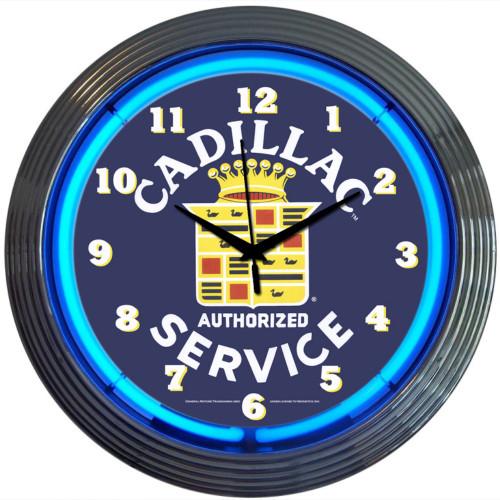 Retro Cadillac Service Neon Clock 15 X 15 Inches
