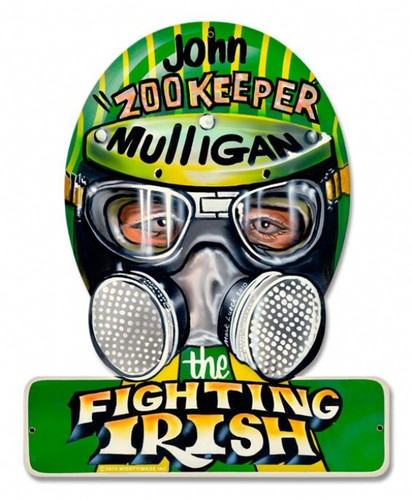 Vintage Fighting Irish Helmet Metal Sign 12 x 15 Inches