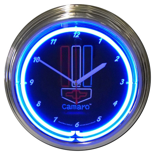 Retro Gm Camaro Red, White & Blue Neon Clock 15 X 15 Inches
