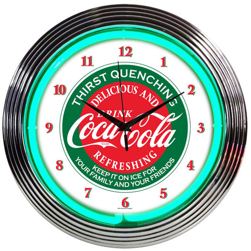 Retro Coca-colaâ® Evergreen Neon Clock 15 X 15 Inches