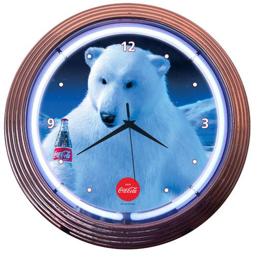 Retro Coca-colaâ® Polar Bear Neon Clock 15 X 15 Inches