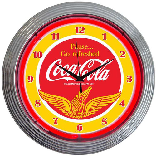 Retro Coca-Cola® Wings Neon Clock 15 X 15 Inches