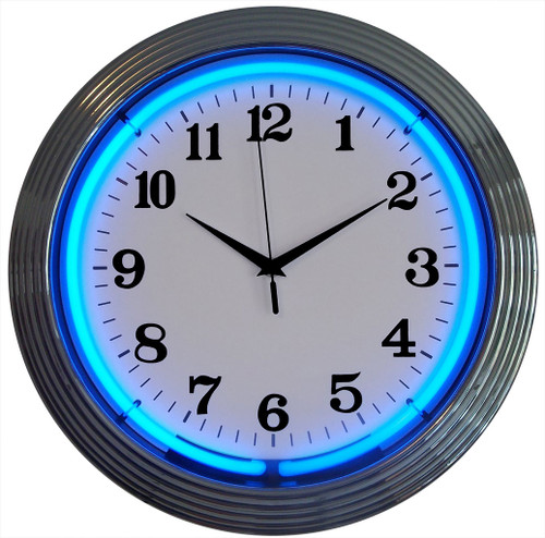 Retro Chrome Blue Standard Neon Clock 15 X 15 Inches