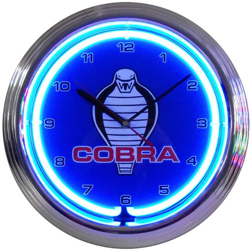 Retro Ford Cobra Neon Clock 15 X 15 Inches