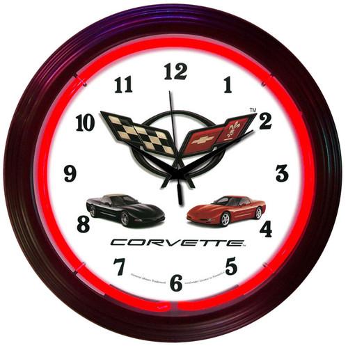 Retro Corvette C5 Neon Clock 15 X 15 Inches