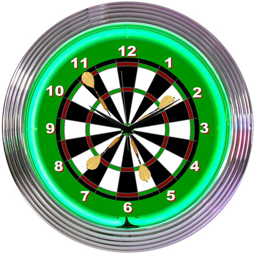 Retro Darts Neon Clock 15 X 15 Inches