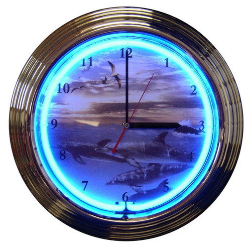 Retro Dolphins At Sea Neon Clock 15 X 15 Inches