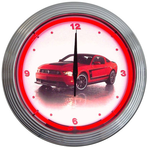 Retro Ford Mustang Boss 302 Neon Clock 15 X 15 Inches