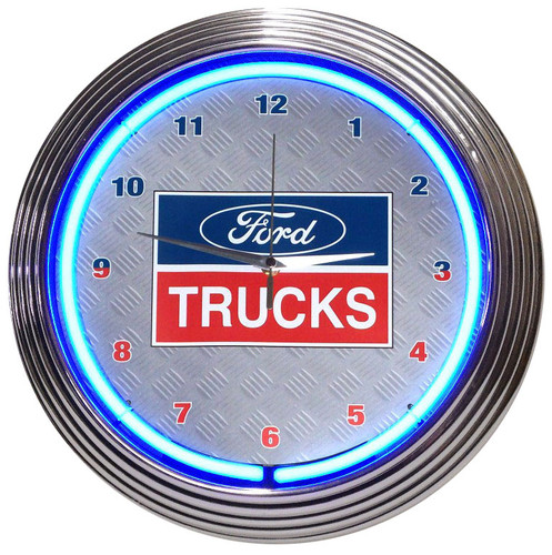 Retro Ford Trucks Neon Clock 15 X 15 Inches