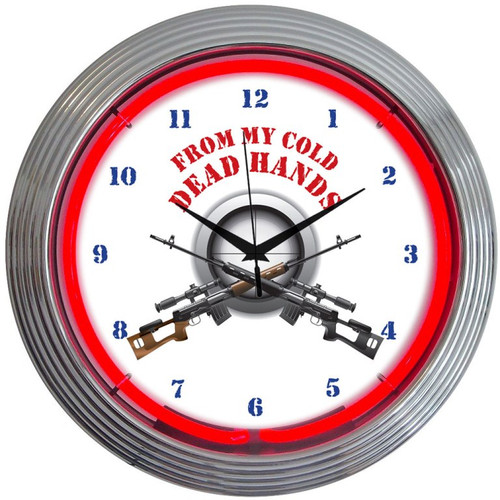 Retro From My Cold Dead Hands Firearms Neon Clock 15 X 15 Inches