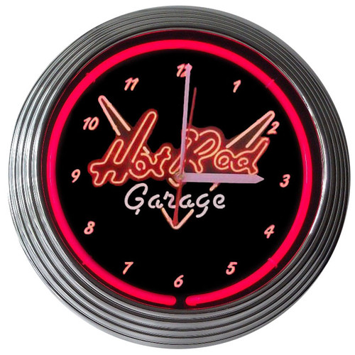 Retro Hot Rod Garage Neon Clock 15 X 15 Inches