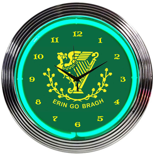 Retro Irish Erin Go Bragh Neon Clock 15 X 15 Inches