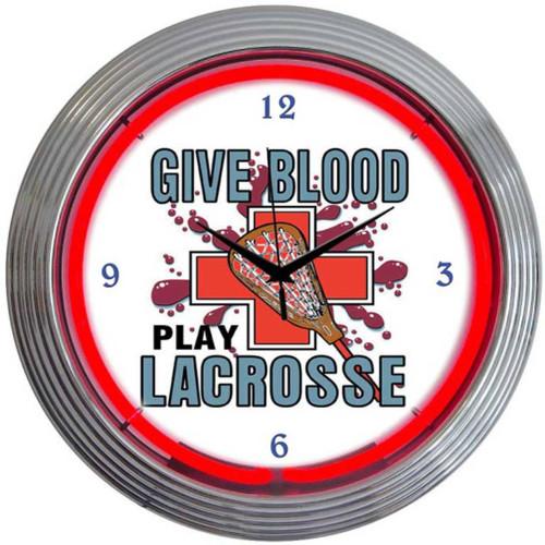 Retro Lacrosse Neon Clock 15 X 15 Inches