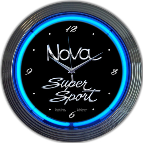 Retro Gm Chevy Nova Neon Clock 15 X 15 Inches
