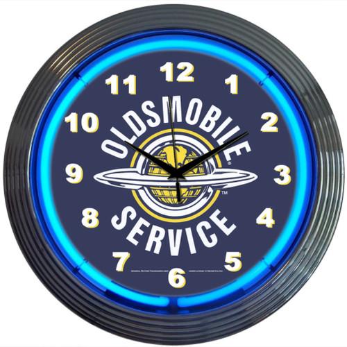 Retro Gm Oldsmobile Service Neon Clock 15 X 15 Inches