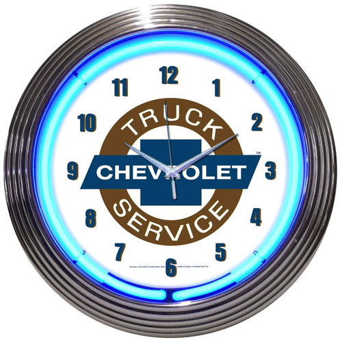 Retro Chevy Truck Neon Clock 15 X 15 Inches
