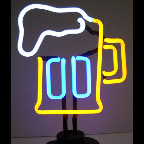 Retro Beer Mug Neon Sculpture  8 W  X 13 H X 6 D