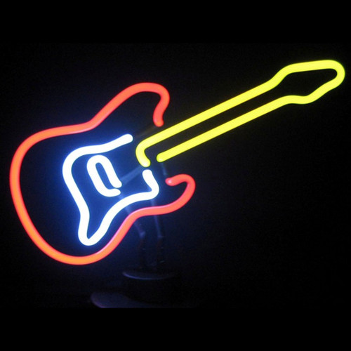 Retro Electric Guitar Neon Sculpture  13 W  X 10 H X 6 D
