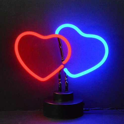 Retro Double Hearts Neon Sculpture  9 W  X 9 H X 6 D