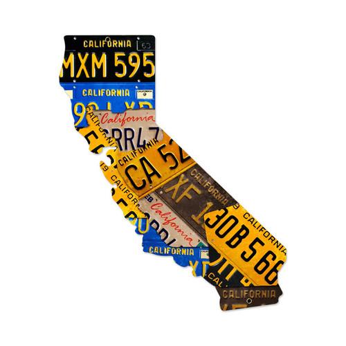 Retro California License Plates Metal Sign 24 x 28 Inches