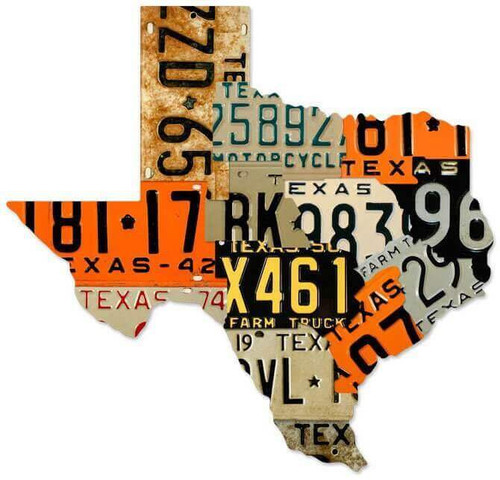 Texas License Plates Custom Shape Metal Sign 24 x 23 Inches