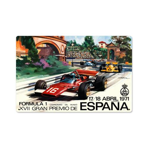 Retro Spanish Formula One Metal Sign   18 x 12 Inches