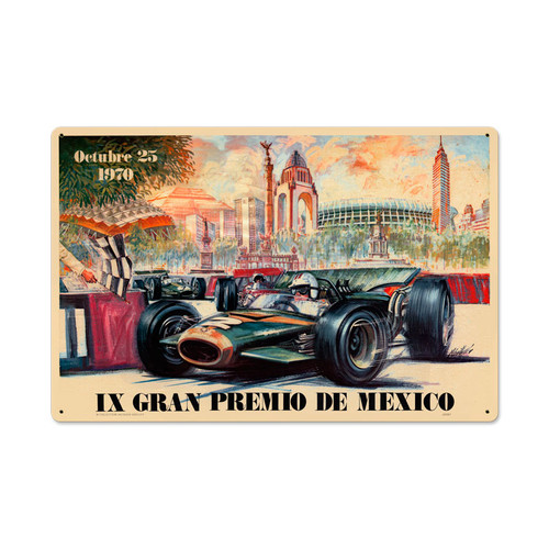 Retro Mexico 1970 Grand Prix Metal Sign 24 x 16 Inches
