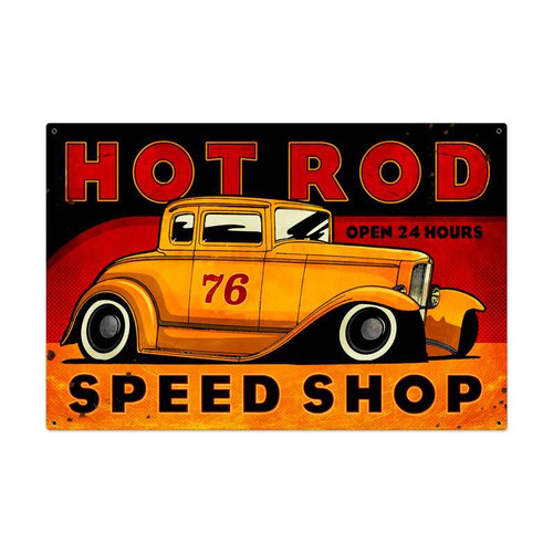 Retro Hot Rod Speed Shop Metal Sign 36 x 24 Inches