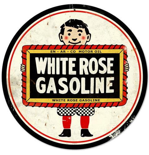 Retro White Rose Metal Sign 14 x 14 Inches