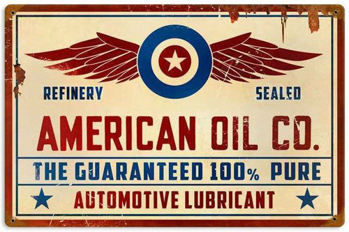 Retro American Oil Co Metal Sign 18 x 12 Inches