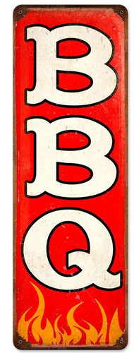Retro BBQ Metal Sign 8 x 24 Inches
