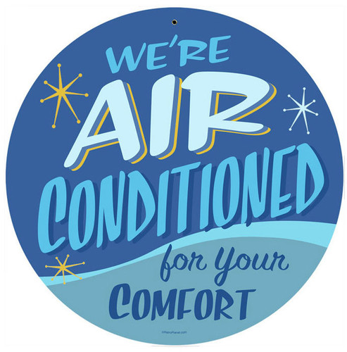 Retro Air Conditioned Metal Sign 14 x 14 Inches