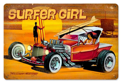 Retro Surfer Girl Metal Sign   18 x 12 Inches