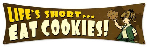 Retro Eat Cookies Metal Sign 27 x 8 Inches