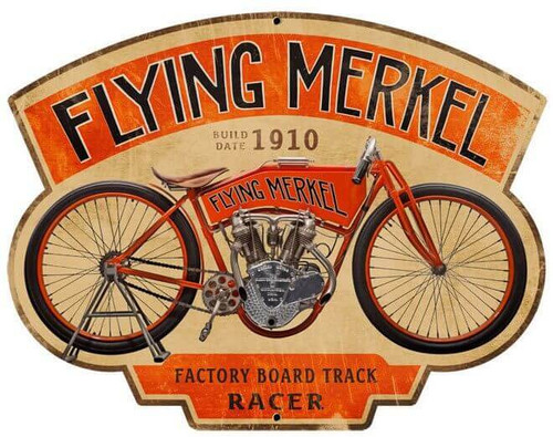 Retro Flying Merkel Metal Sign 17 x 13 Inches