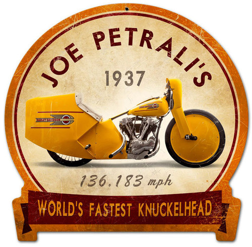 Retro Joe Petrali Metal Sign 15 x 16 Inches