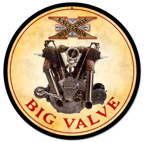 Retro Big Valve Engine Metal Sign 14 x 14 Inches