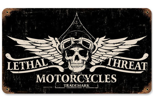 Retro Lethal Motorcycles Metal Sign 14 x 8 Inches