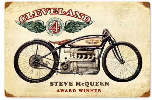 Retro Cleveland Steve McQueen Metal Sign 18 x 12 Inches