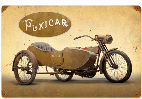 Retro Flexicar Metal Sign 18 x 12 Inches