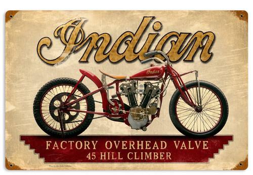 Retro Indian Hillclimber Metal Sign 18 x 12 Inches