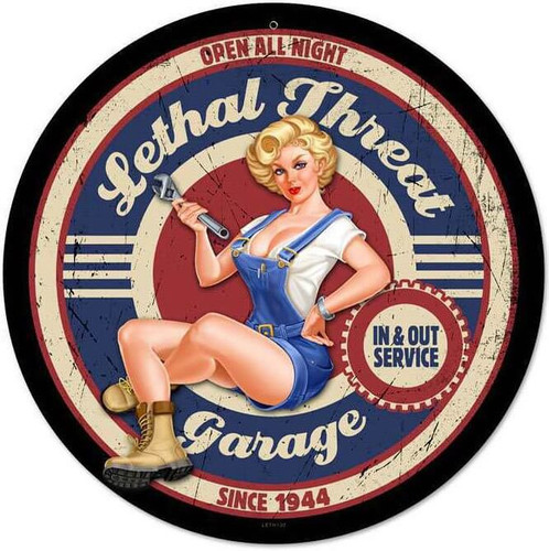 Retro Lethal Garage Pinup Metal Sign 14 x 14 Inches