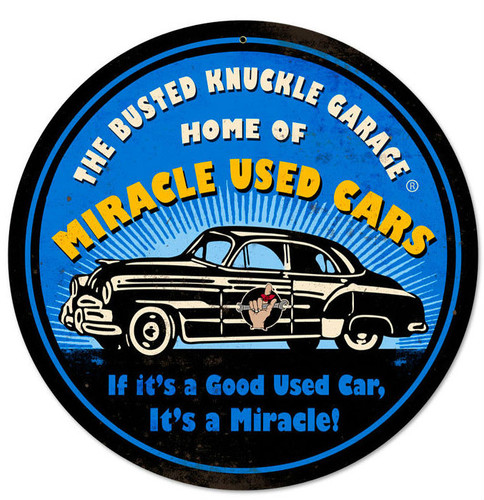 Retro Miracle Used Cars Round Metal Sign  14 x 14 Inches