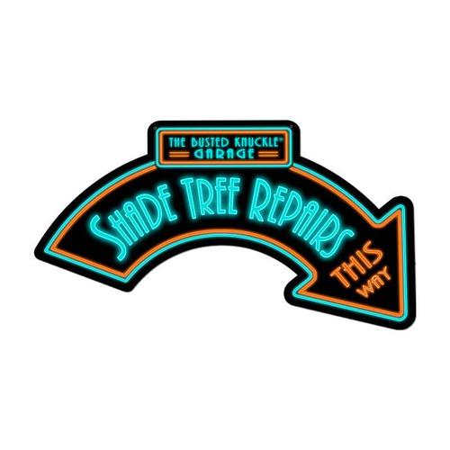 Retro Shade Tree Repairs Custom Shape Metal Sign  21 x 10 Inches