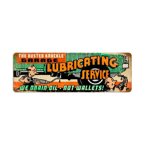 Retro Lubricating Service Metal Sign  24 x 8 Inches