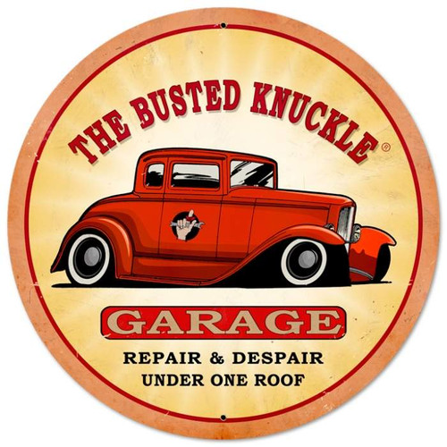 Retro Hot Rod XL Round Metal Sign 28 x 28 Inches