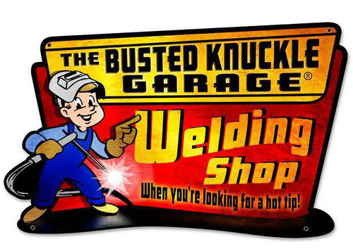 Retro Welding Hot Tip Custom Shape Metal Sign  18 x 11 Inches